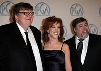 Michael Moore, Kathy Griffin and Steve Wozniak at the 19th annual Producers Guild Awards held at the Beverly Hilton Hotel.