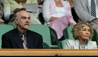 Sean Connery and his wife Micheline Roquebrune at the Wimbledon Lawn Tennis Championship.