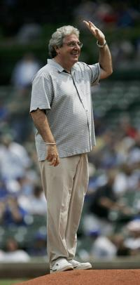 Harold Ramis at the ceremonial first pitch before the Chicago Cubs take on the Philadelphia Phillies.