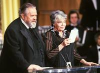 Orson Welles and Simone Signoret at the Annual French Film Industry Awards ceremony.