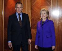 Sergey Lavrov and Hillary Rodham Clinton at the Afghanistan Conference in London.