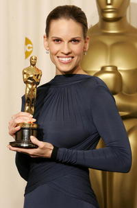 Hilary Swank backstage during the 77th Annual Academy Awards in Hollywood