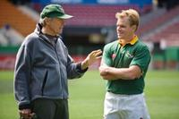 Director Clint Eastwood and Matt Damon on the set of