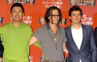 Chow Yun-Fat, Johnny Depp and Orlando Bloom at Tokyo the photocall to promote