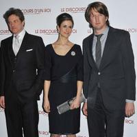 Colin Firth, Livia Giuggioli and Tom Hooper at the Paris premiere of