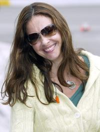 Ashley Judd at the Toyota 400 Indy car race at the California Speedway.