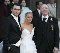 Owain Yeoman, Lucy Davis and Jasper Carrot at St. Paul's Cathedral after their wedding.