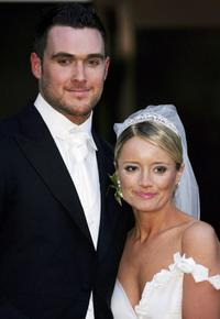 Owain Yeoman and Lucy Davis at St. Paul's Cathedral after their wedding.