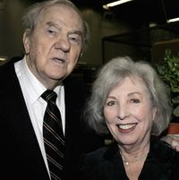 Karl Malden and wife Mona at the dedication of the Barrington Station Post Office.