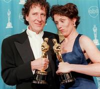 Frances McDormand and Geoffrey Rush at the 69th Academy Awards ceremony at the Shrine Auditorium in Los Angeles.