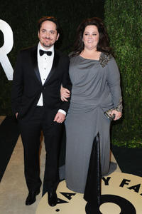 Melissa McCarthy and Ben Falcone at the 2013 Vanity Fair Oscar Party in California.