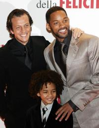Gabriele Muccino, Jaden Smith and Will Smith at the Italian premiere of