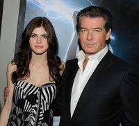 Alexandra Daddario and Pierce Brosnan at the premiere of