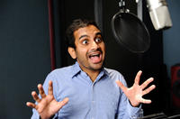 Aziz Ansari on the set of