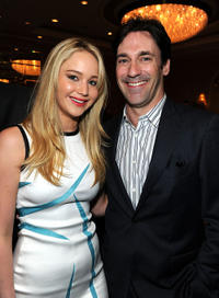 Jennifer Lawrence and Jon Hamm at the Eleventh Annual AFI Awards in California.