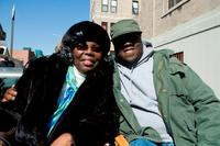Producer Ms. Voletta Wallace and Jamal Woolard on the set of