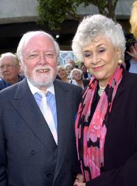 Joan Plowright and Lord Richard Attenborough at the unveiling of a statue of Sir Lawrence Olivier.