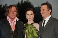Mickey Rourke, Evan Rachel Wood and Director Darren Aronofsky at the premiere of