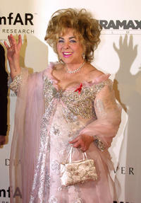 Elizabeth Taylor at the amFar (American Foundation for Aids Research) benefit party.
