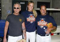 Billy Bob Thornton, Jon Lovitz and Olympic athlete Jennie Finch at the start of the 2005 Major League Baseball Legends and Celebrity game at Comerica Park.