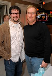 Brad Bird and Michael Giacchino at the Belvedere Luxury Lounge in honor of the 80th Academy Awards featuring Activision's Guitar Hero III: Legends of Rock.