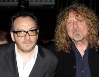 Elvis Costello and Robert Plant at the World Hunger Year's event.