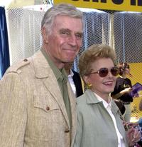 Charlton Heston and his wife Lydia at the premiere of