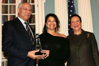 Colin Powell, Debbie Allen and Alma Powell at the ceremony to recognize the cultural ambassadors under the Culture Connect program.