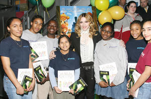 """Madonna hosts special screening of """"Arthur and the Invisibles"""" in NYC for students of charter schools who are grantees of the Robin Hood Foundation."""