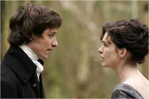 """1 of 6 Exclusive Photos! James McAvoy as Tom Lefroy  and Anne Hathaway as Jane Austen in """"Becoming Jane."""""""