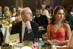 "Simon Pegg as Sidney and Megan Fox as Sophie in ""How to Lose Friends & Alienate People."""