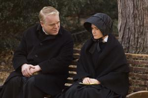 """Philip Seymour Hoffman as Father Flynn and Amy Adams as Sister James in """"Doubt."""""""