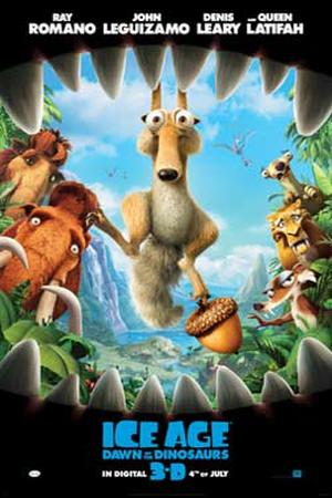 """Poster art for """"Ice Age: Dawn of the Dinosaurs 3D."""""""
