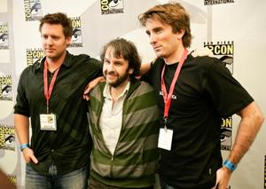 """Director Neill Blomkamp, Producer Peter Jackson and Sharlto Copley at the California premiere of """"District 9."""""""
