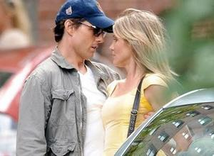 "Tom Cruise and Cameron Diaz on the set of ""Knight and Day."""