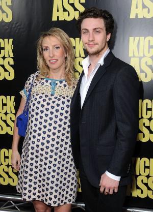 "Sam Taylor Wood and Aaron Johnson at the California premiere of ""Kick-Ass."""