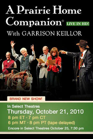 """Poster art for """"A Prairie Home Companion with Garrison Keillor LIVE."""""""