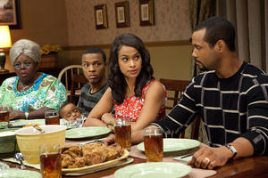 "Cassi Davis as Aunt Bam, Bow Wow as Byron, Shannon Kane as Kimberly and Isaiah Mustafa as Calvin in ""Tyler Perry's Madea's Big Happy Family."""