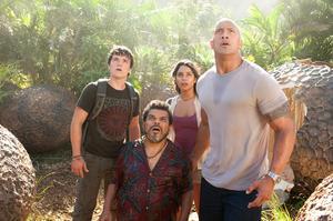 "Josh Hutcherson as Sean, Luis Guzman as Gabato, Vanessa Hudgens as Kailani and Dwayne Johnson as Hank in ""Journey 2: The Mysterious Island."""