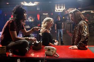 "Russell Brand as Lonny Barnett, Julianne Hough as Sherrie Christian, Diego Boneta as Drew Bolley and Alec Baldwin as Dennis Dupree in ""Rock Of Ages."""