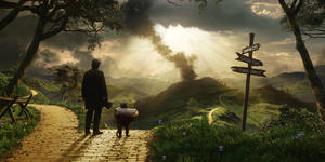 """James Franco and Finley voiced by Zach Braff in """"Oz: The Great and Powerful."""""""