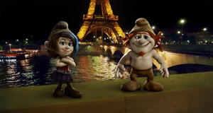 "Vexy voiced by Christina Ricci and Hackus voiced by J.B. Smoove in ""The Smurfs 2."""