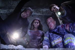 "Patricio Strahovsky, Lorenza Izzo, Marcial Tangle and Andrea Osvart in ""Aftershock."""