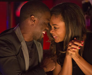 "Kevin Hart as Bernie and Regina Hall as Joan in ""About Last Night."""