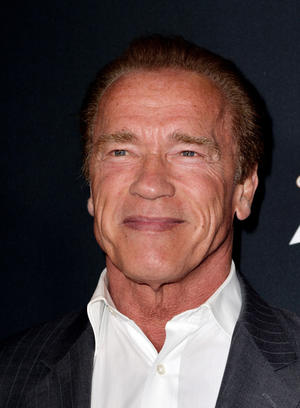 "Arnold Schwarzenegger at the California premiere of ""Sabotage."""