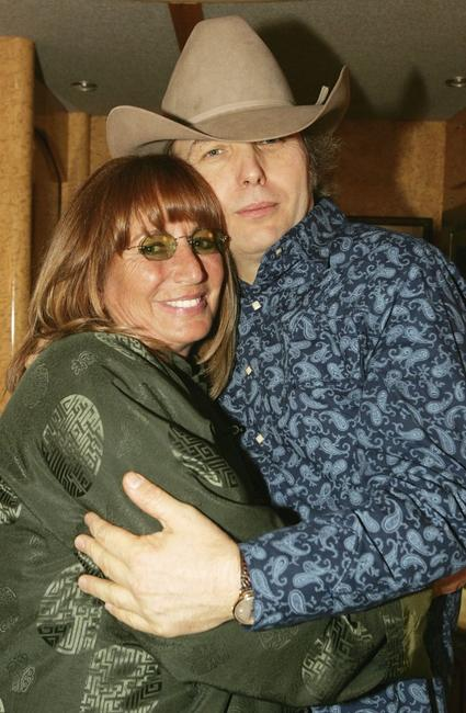 Penny Marshall and Dwight Yoakam at the Wiltern Theatre on Dwight Yoakams tour bus during the Dwight Yoakam Hosts Lil Ole Oscar Hayride during his Watch Out Tour.