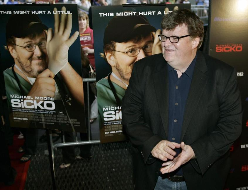 Michael Moore at the Ziegfeld Theater for the New York premiere of