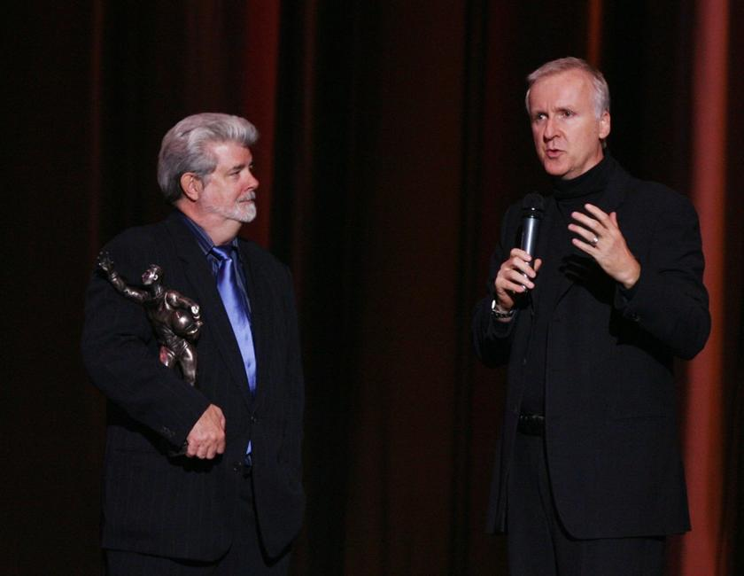 James Cameron at the Jules Verne Adventure Film Festival gives away Life Achievement Award to the director George Lucas.