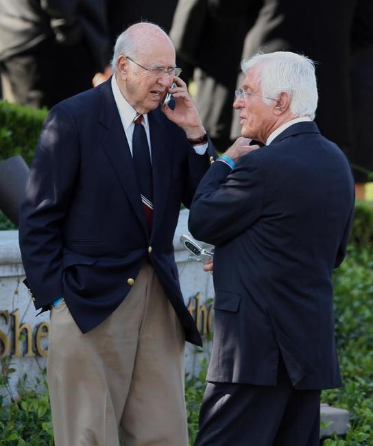 Carl Reiner and Dick Van Dyke at the funeral of Merv Griffin.