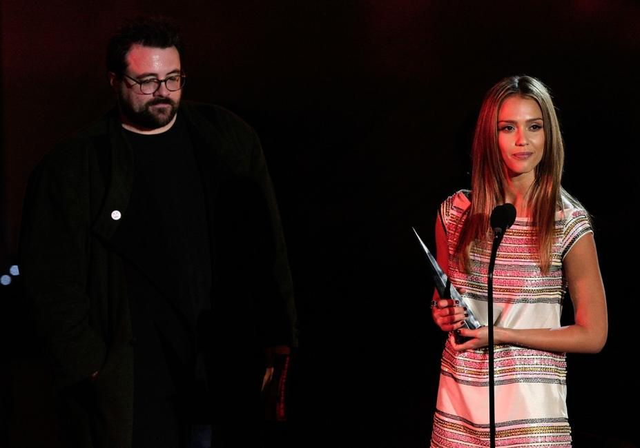 Kevin Smith and Jessica Alba at the Best Female Superhero award onstage during Spike TVs